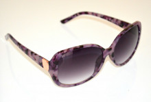 OCCHIALI da SOLE donna LILLA GLICINE VIOLA maculati neri lenti ovali oro sunglasses BB52