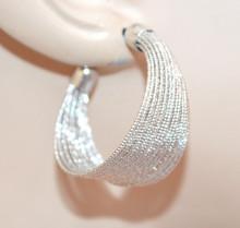 ORECCHINI argento cerchi donna semi aperti diamantati zigrinati silver earrings BB50