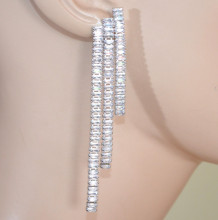 ORECCHINI ARGENTO donna cristalli fili pendenti lunghi eleganti cerimonia серьги D10