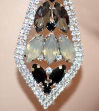 ORECCHINI ARGENTO donna cristalli NERI GRIGIO strass pendenti gocce eleganti S4