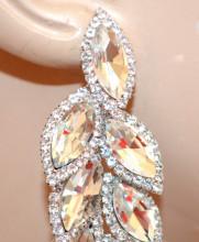 ORECCHINI ARGENTO donna cristalli trasparenti strass pendenti lunghi cerimonia N6