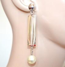 ORECCHINI argento donna pendenti ciondolo perla filo catena silver earring pendientes CC137