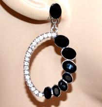 ORECCHINI argento strass donna cristalli neri pendenti ovali uhani сережки G32