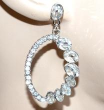 ORECCHINI argento strass donna cristalli trasparenti pendenti ovali eleganti G32