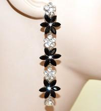 ORECCHINI BIANCHI NERI fiori cristalli donna pendenti lunghi strass örhängen G55