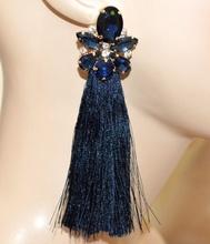 ORECCHINI BLU ORO donna fili pendenti lunghi cristalli strass eleganti cerimonia A5