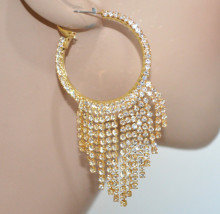 ORECCHINI CERCHI donna oro fili strass pendenti eleganti sposa cerimonia earrings BB87