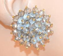 ORECCHINI CRISTALLI GRIGIO ARGENTO donna CLIPS bottone al lobo perline oro eleganti lobe earrings P18