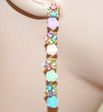 ORECCHINI cristalli MULTICOLORE ORO donna  pendenti lunghi roselline strass BB2