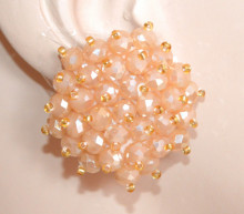 ORECCHINI CRISTALLI ROSA BEIGE donna CLIPS bottone al lobo perline oro eleganti lobe earrings P18