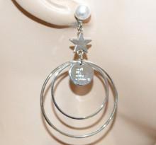ORECCHINI donna ARGENTO multi cerchi pendenti perla bianca ciondolo stella CC210
