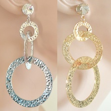 ORECCHINI donna argento oro cerchi cristallo martellati pendientes earrings boucles H16