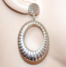 ORECCHINI donna argento pendenti cerchi ovali zigrinati eleganti earrings CC178
