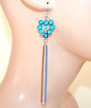 Orecchini donna argento pietre azzurre cuore fili pendenti colorati ragazza F1