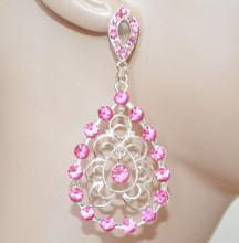 ORECCHINI donna argento platino strass ROSA pendenti etnici cristalli earrings örhängenCC208