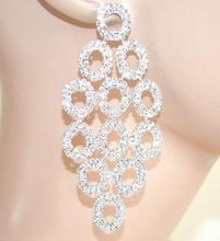 ORECCHINI donna ARGENTO strass boreali cristalli cerchi pendenti eleganti sposa cerimonia F185