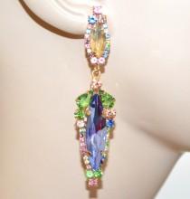 ORECCHINI donna cristalli blu verdi rosa ambra pendenti strass cerimonia pendientes BB58