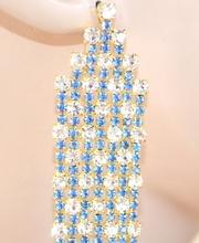 ORECCHINI donna eleganti CRISTALLI trasparenti pendenti ORO sexy STRASS AZZURRI da cerimonia party 190X