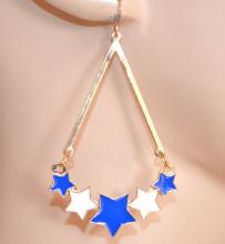 ORECCHINI donna ORO BLU BIANCHI pendenti stelle ciondoli dorati ragazza CC223