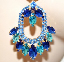 ORECCHINI donna oro cristalli blu azzurri celesti pendenti strass cerimonia BB55