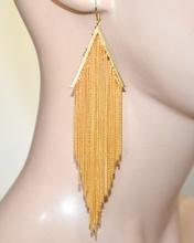 ORECCHINI donna oro dorati fili pendenti lunghi eleganti cerimonia moda feste boucles A7