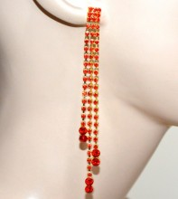 ORECCHINI donna oro dorato fili pendenti strass rossi brillantini cristalli red earrings CC102