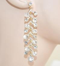ORECCHINI donna ORO pendenti eleganti da sposa cristalli strass da cerimonia boucles E10