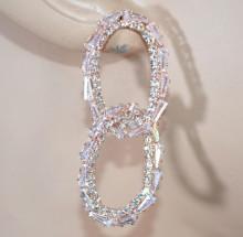 ORECCHINI donna ORO ROSA cerchi ovali anelli strass cristalli brillanti crystal earrings D12