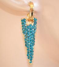 ORECCHINI donna ORO STRASS azzurri cristalli brillantini pendenti eleganti pendants 840