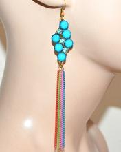 ORECCHINI donna ragazza oro fili pendenti pietre strass azzurro turchese bijoux idea regalo F289