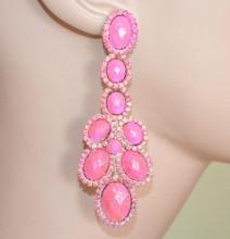 ORECCHINI donna ROSA FUCSIA pietre strass pendenti brillantini eleganti pendientes F140