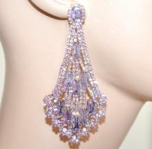 ORECCHINI LILLA GLICINE lavanda donna oro cristalli pendenti lunghi strass BB62