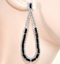 ORECCHINI NERI donna strass cristalli pendenti goccia ovali boucles eleganti F5
