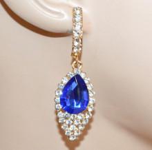 ORECCHINI ORO CRISTALLO BLU donna pendenti strass eleganti gold earrings CC180
