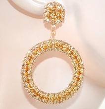 ORECCHINI ORO donna cerchi pendenti strass cristalli brillantini eleganti F55