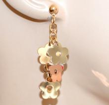 ORECCHINI ORO donna charms pendenti ciondoli fiori argento rosa dorato pendagli pendientes N37