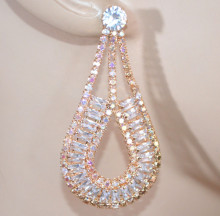 ORECCHINI ORO donna CRISTALLI pendenti strass ovali cerimonia crystal earrings PX6