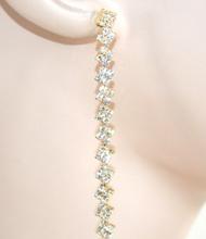 ORECCHINI ORO donna STRASS eleganti pendenti cristalli cerimonia feste E56