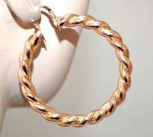 ORECCHINI oro dorati donna cerchi lucidi satinati intrecciati ondulati 6 cm BB42G