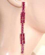 ORECCHINI ORO FUCSIA  donna  pendenti lunghi cristalli strass eleganti   L10