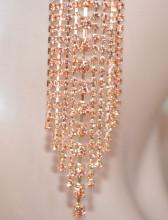 ORECCHINI ORO ROSA donna FILI lunghi STRASS maxi pendenti cristalli earrings D1
