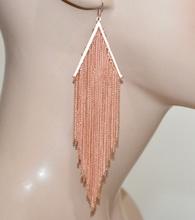 ORECCHINI ORO ROSA fili pendenti lunghi donna elegante cerimonia moda boucles A7