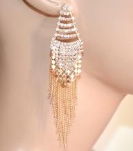 ORECCHINI pendenti fili lunghi oro dorati donna strass brillantini eleganti G36