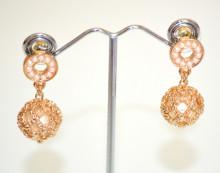 ORECCHINI PERLE donna Oro dorato Perline pendenti ciondolo charms elegante pendientes N76