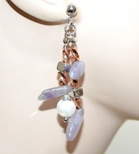 ORECCHINI PIETRE viola lilla glicine donna perle argento oro rosa pendenti G50