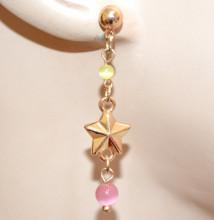 ORECCHINI STELLE MARINE donna oro ciondoli pietre perle rosa gialle dorati pendenti charms N69