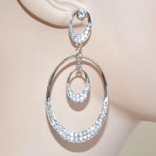 Orecchini strass argento cristalli sposa cerimonia eleganti brillantini pendientes 322