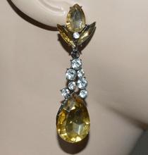 ORECCHINI strass pendenti cristalli oro ambra donna elegante festa party A27