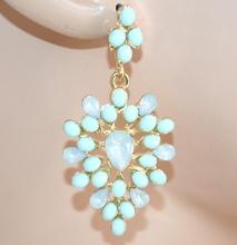 ORECCHINI VERDi AZZURRI donna pendenti pietre cristalli damigella eleganti F150