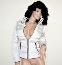 PIUMINO BIANCO donna giubbotto cappuccio pelliccia nera imbottito giubbino giaccone coat G55